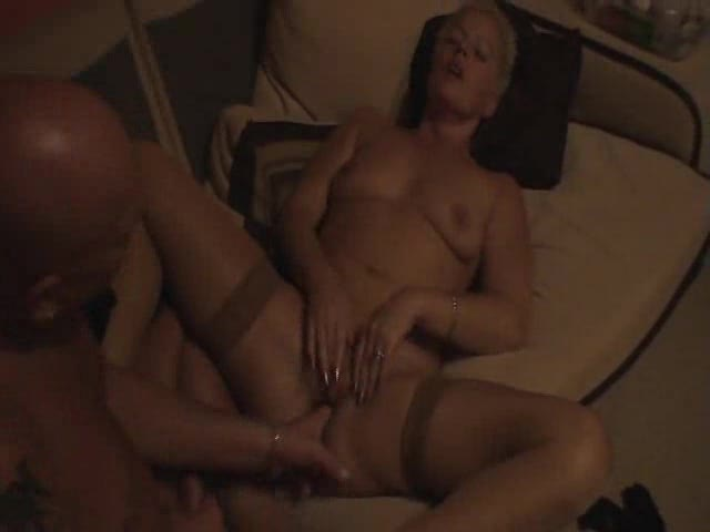 Fingering and licking her old pussy